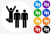 Small Group Celebration Icon on Flat Color Circle Buttons