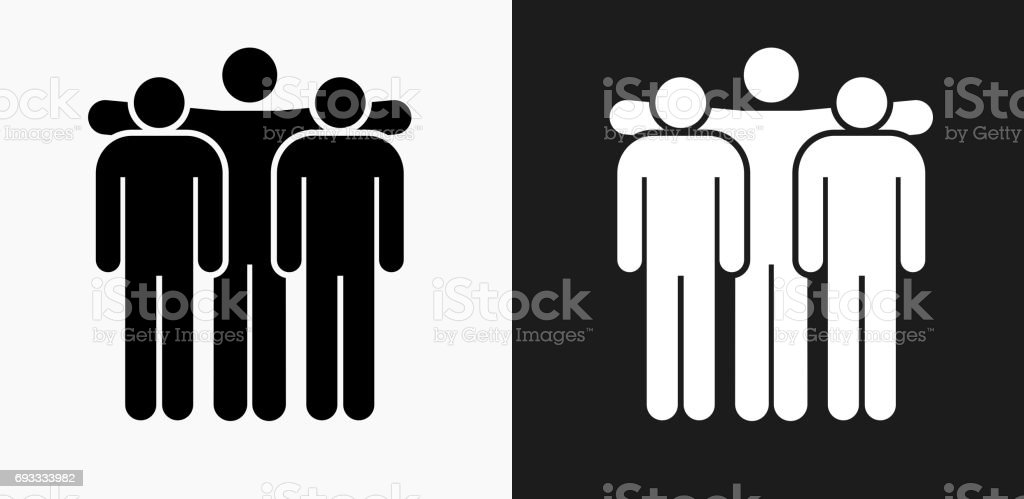 Small Group Icon on Black and White Vector Backgrounds vector art illustration