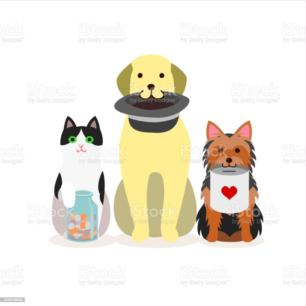 Small group of dogs and cat vector art illustration