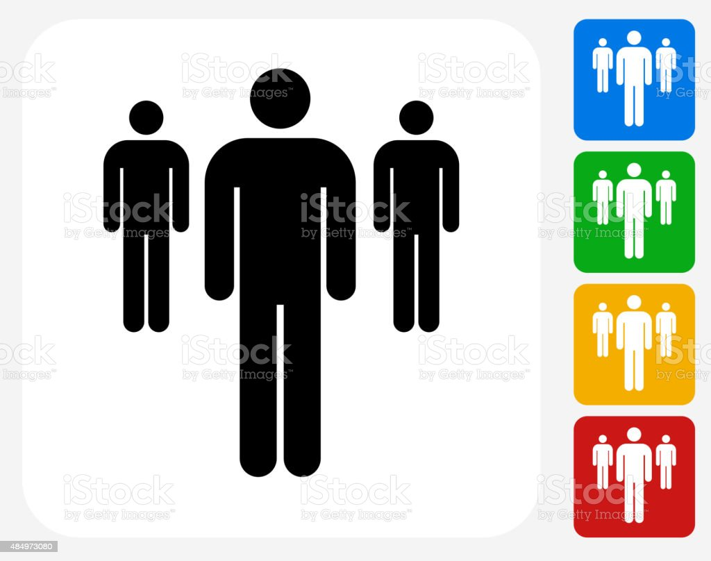 Small Group of People Icon Flat Graphic Design vector art illustration