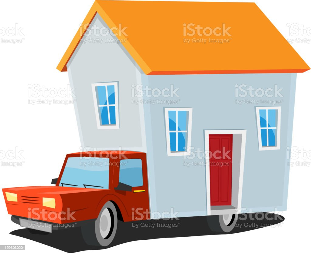 Small House On Delivery Truck royalty-free stock vector art