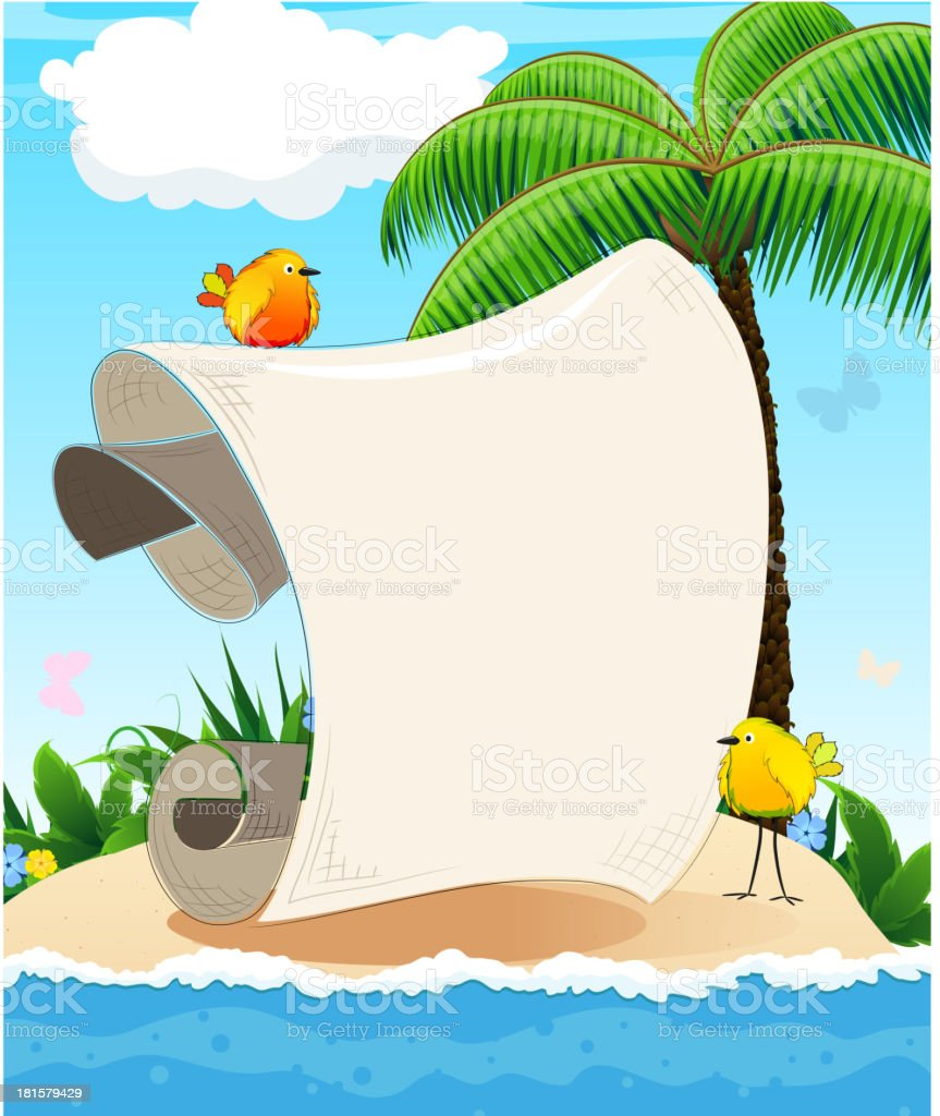 Small island with  palm tree and birds royalty-free stock vector art