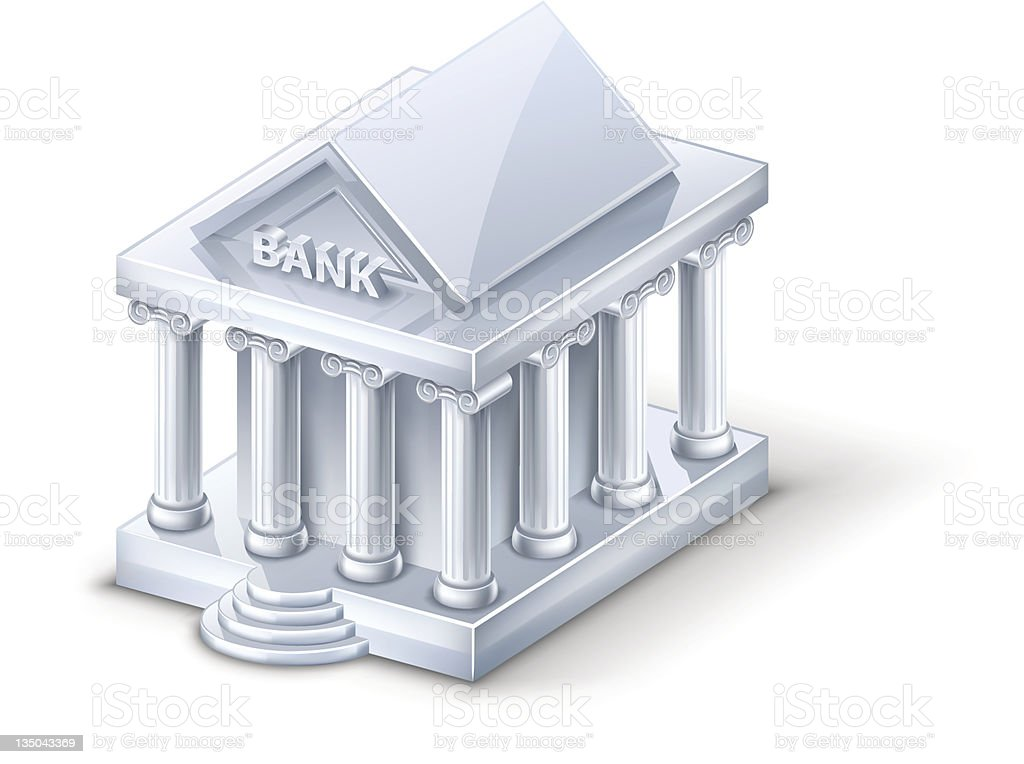 Small model of a bank building  vector art illustration