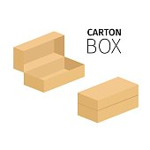 Small opened and closed carton box