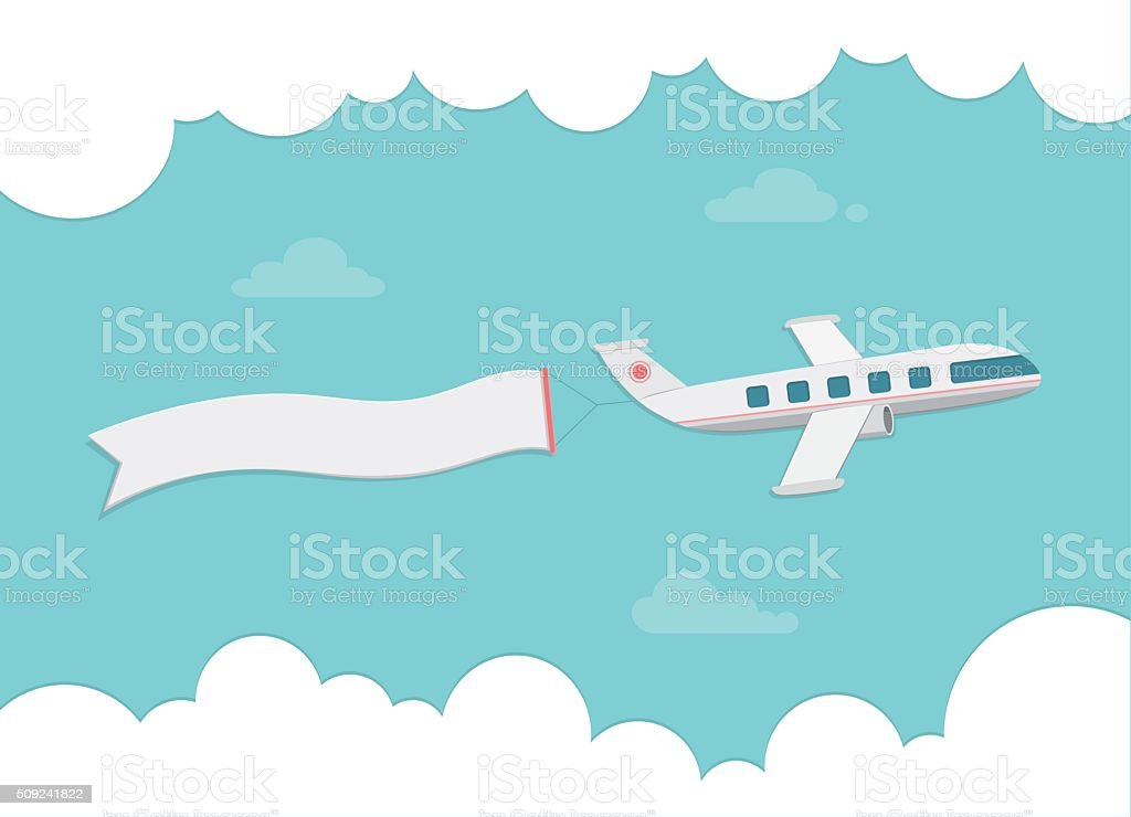 Small passenger plane carrying a banner. Flat style vector illustration. vector art illustration