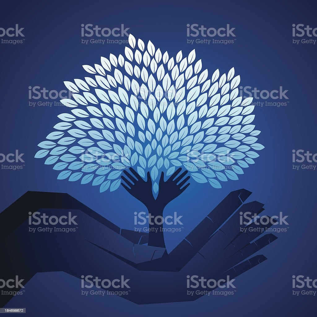 small plant in hand royalty-free stock vector art