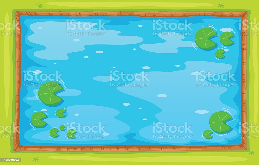 Small pond from top view vector art illustration
