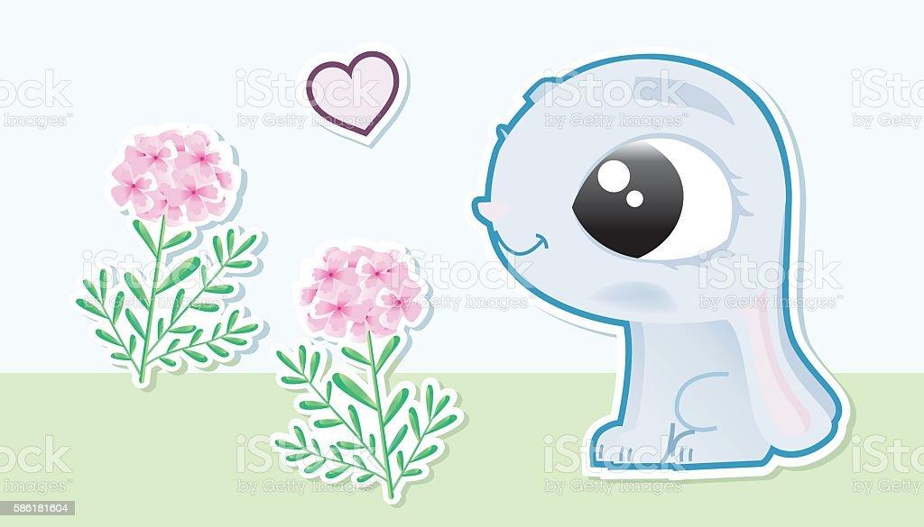 small rabbit in love vector art illustration