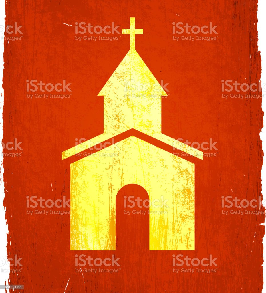 small rural church on royalty free vector Background vector art illustration