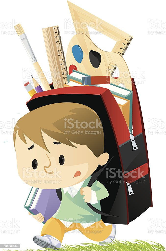 A small schoolboy with a backpack bigger than he is vector art illustration