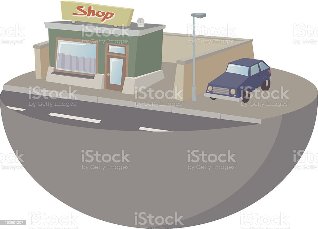 Small shop with car royalty-free stock vector art