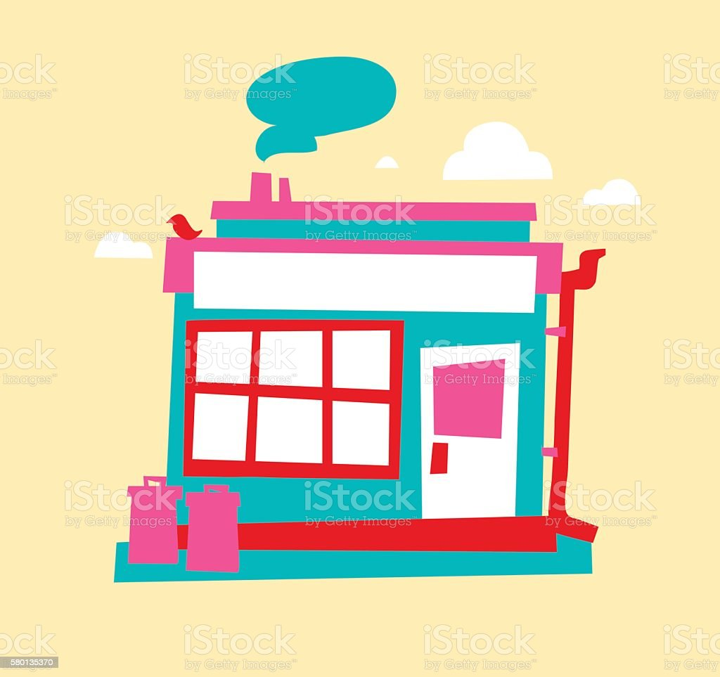 Small store front vector art illustration