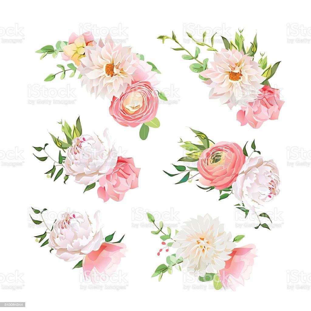 Small summer bouquets of rose, peony, ranunculus, dahlia, carnation vector art illustration