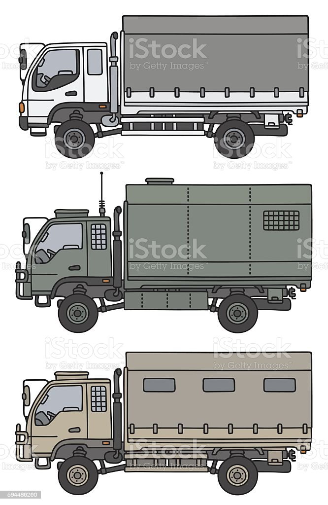 Small terrain trucks vector art illustration