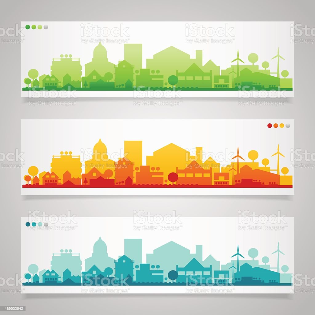 Small town and village silhouettes. Multicolored collection vector art illustration