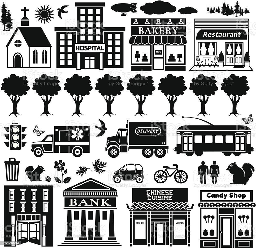 small town design elements vector art illustration