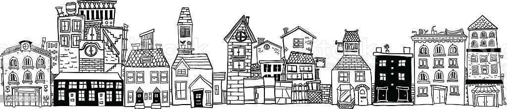 Small Town illustraion in black and white vector art illustration