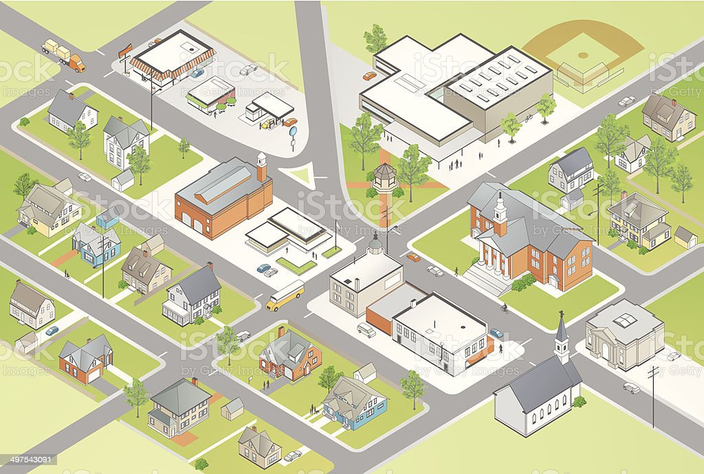 Small Town Illustration vector art illustration