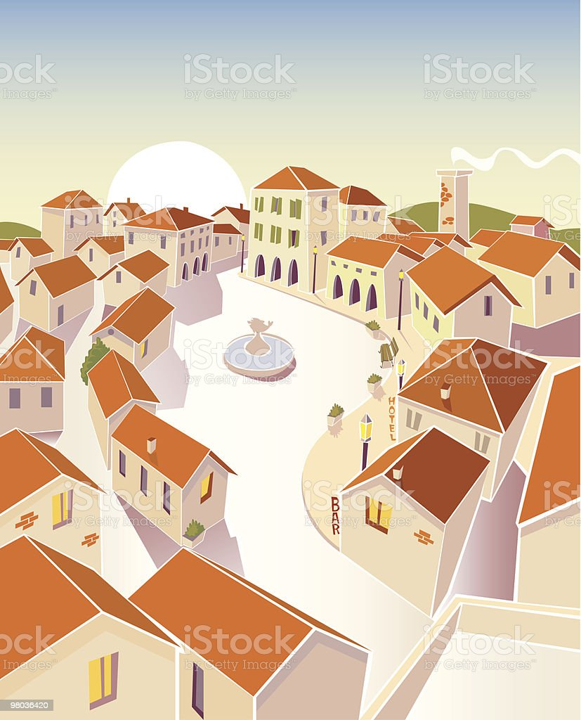 Small Town piazza royalty-free stock vector art