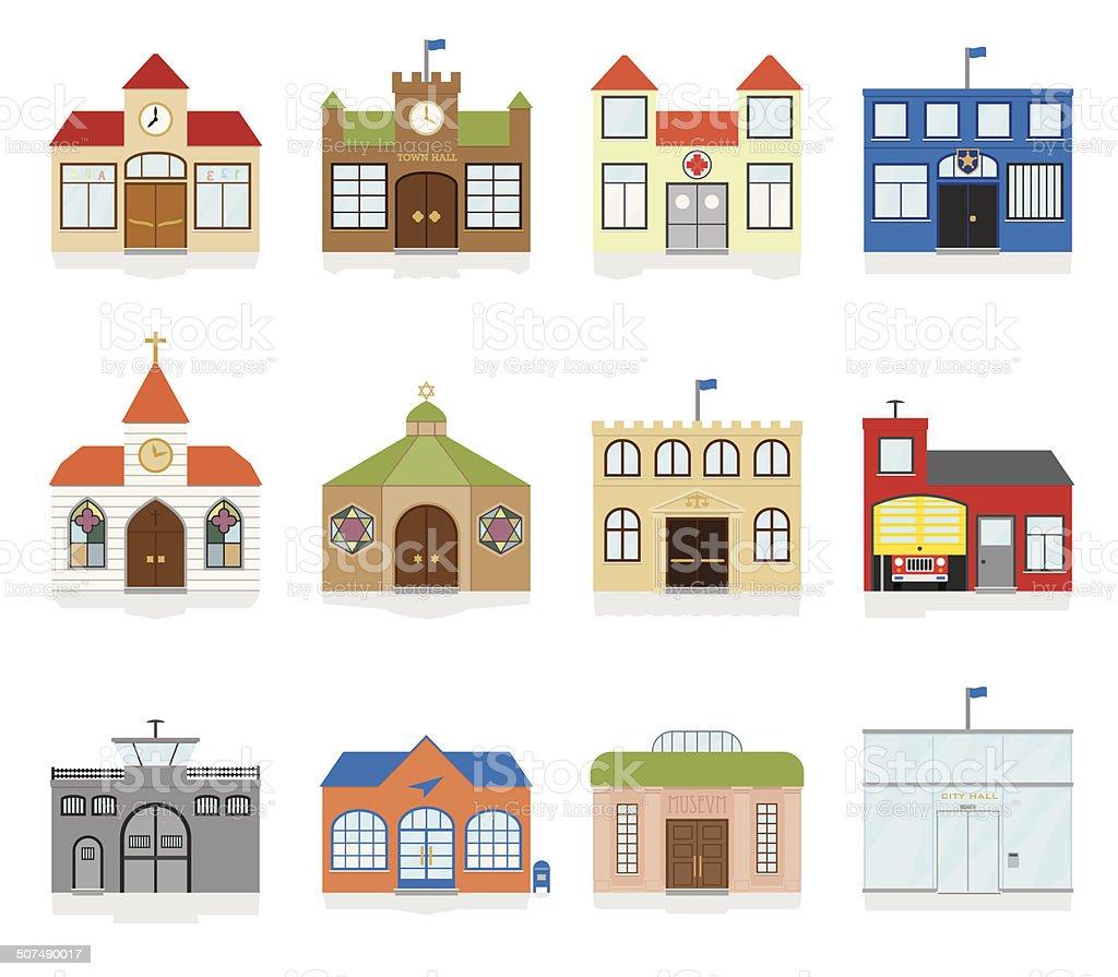 Small Town Public Building Icons Vector Illustration vector art illustration
