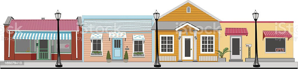 Small Town Stores vector art illustration