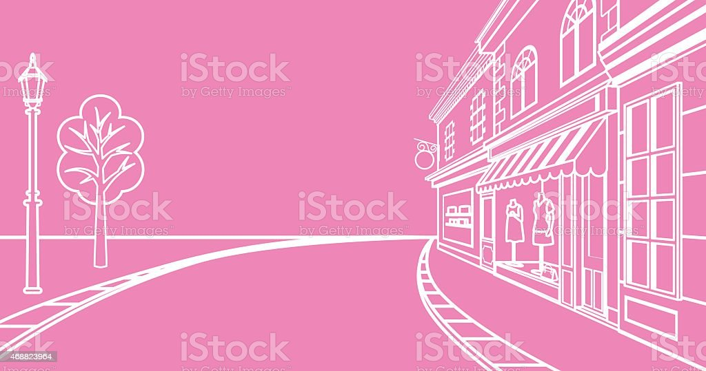 Small town Street, linear vector art illustration