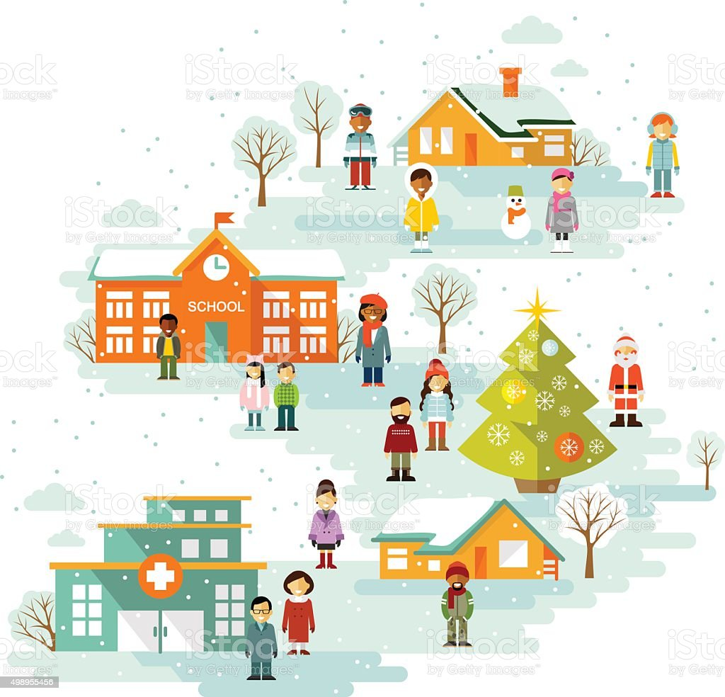Small town urban Christmas winter landscape background in flat style vector art illustration
