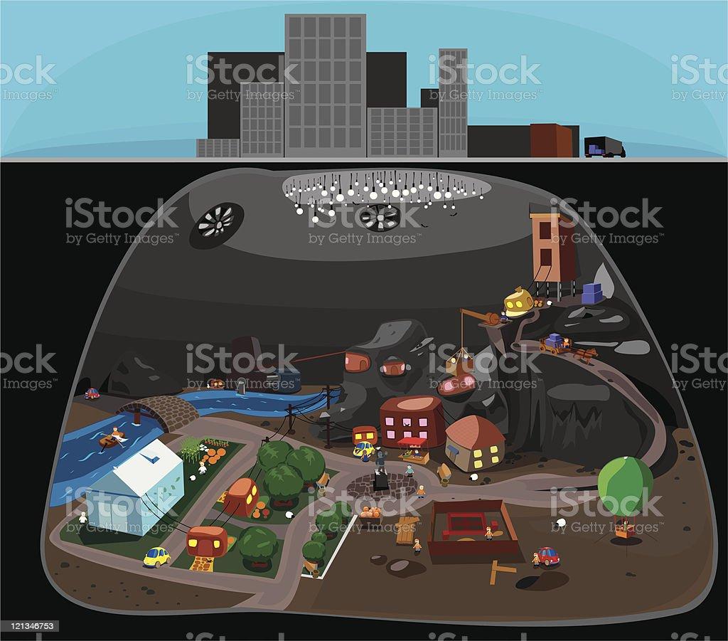 Small town vector art illustration