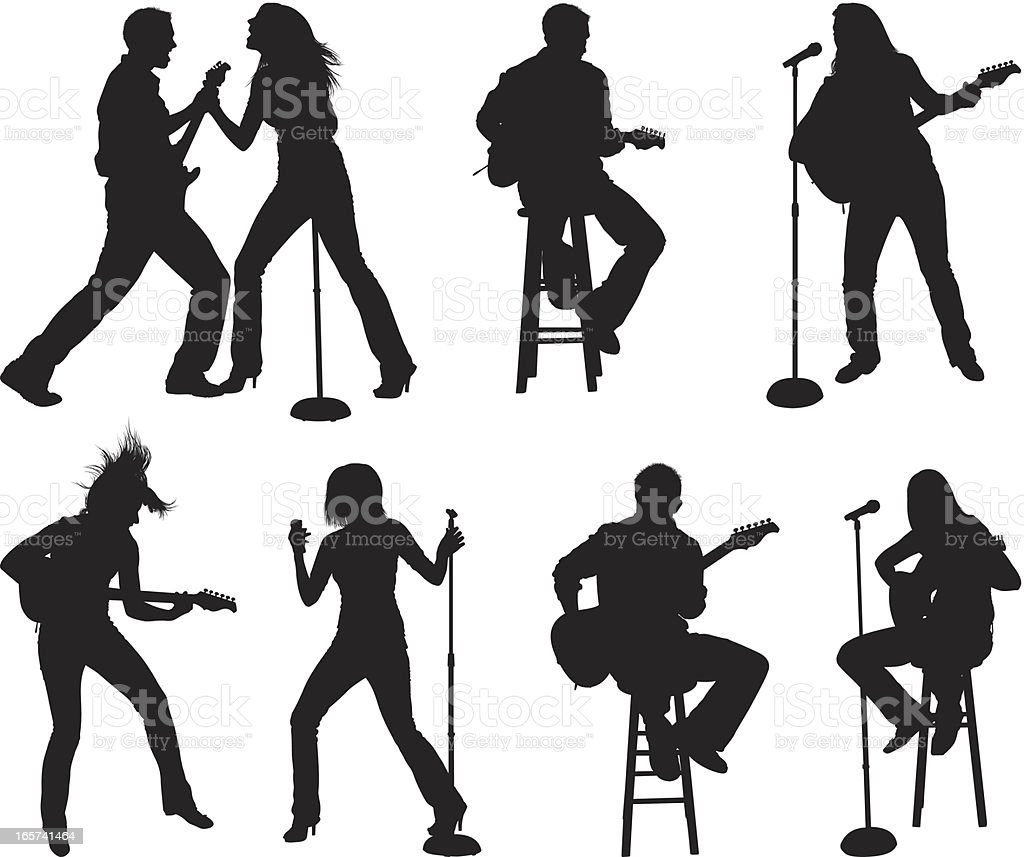 Small venue musical performance vector art illustration
