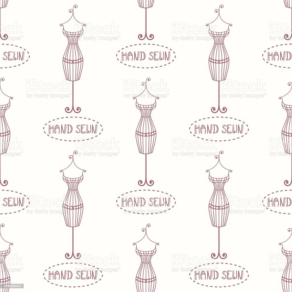 Small vintage iron mannequin seamless pattern with inscription hand sewn vector art illustration