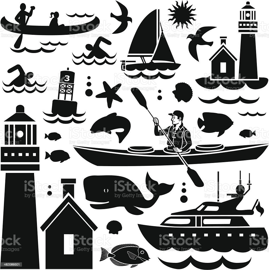 small watercraft design elements royalty-free stock vector art