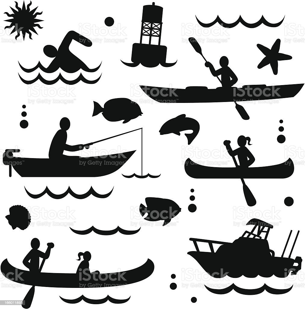 small watercraft vector art illustration