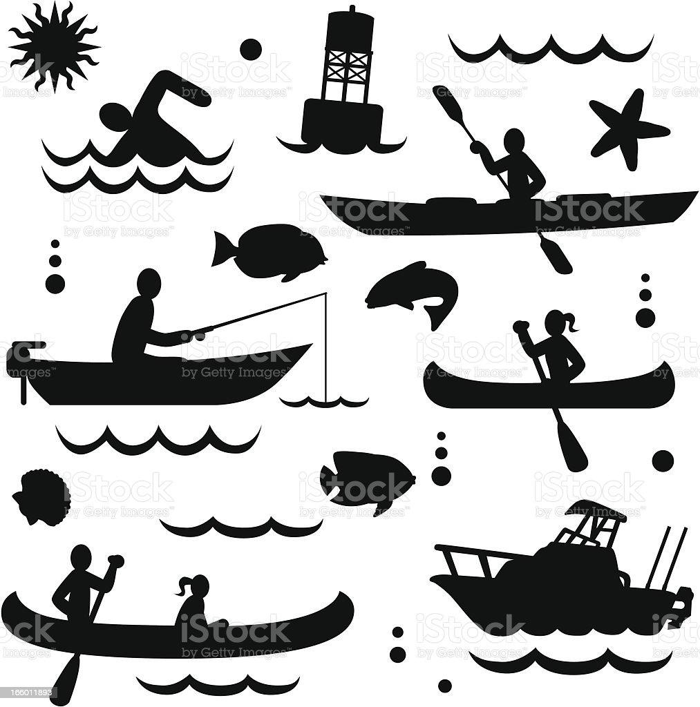 small watercraft vector art illustration