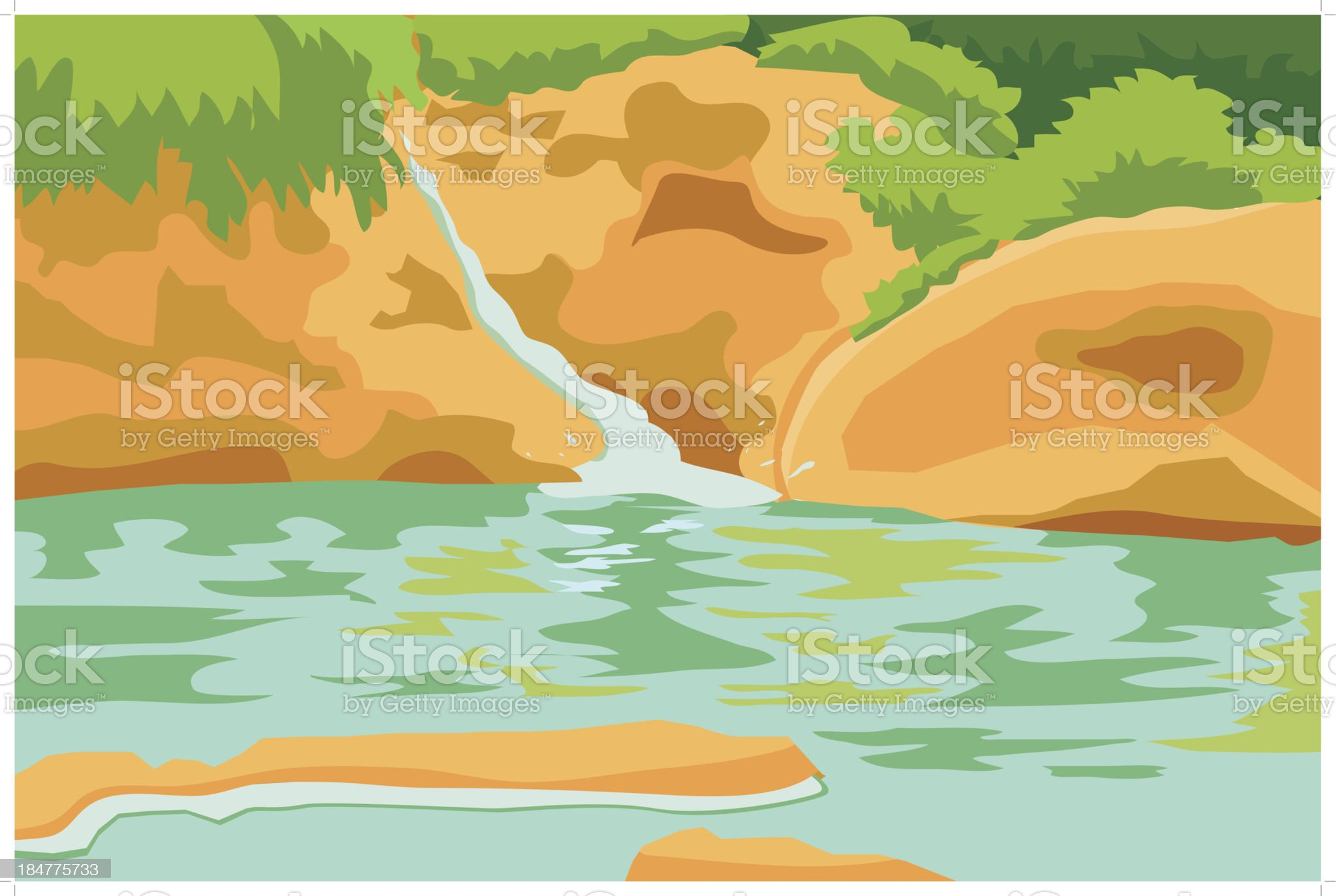 Small Waterfall illustration royalty-free stock vector art