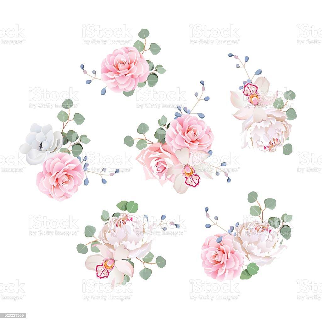 Small wedding bouquets vector design elements. vector art illustration