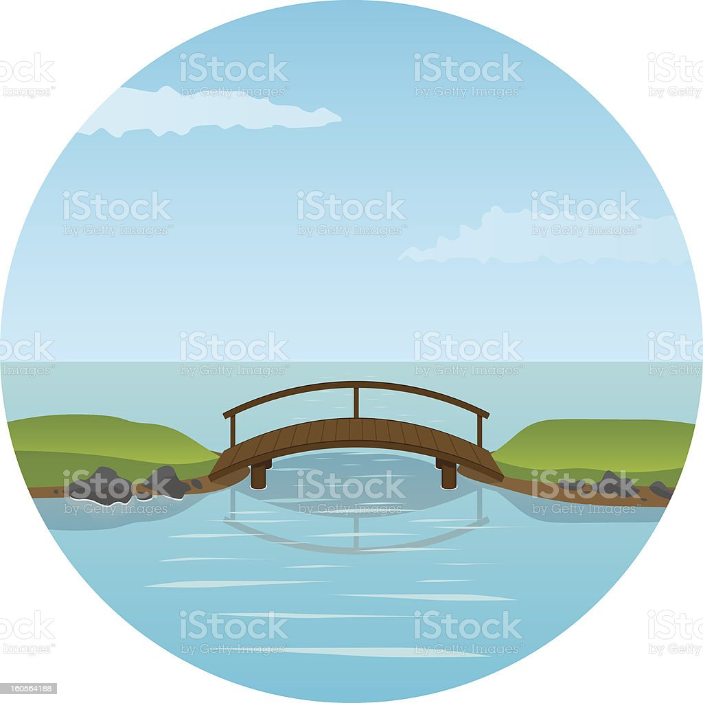 Small wooden bridge vector art illustration
