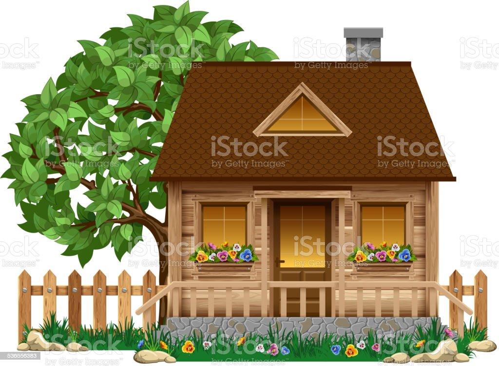 Small wooden house vector art illustration