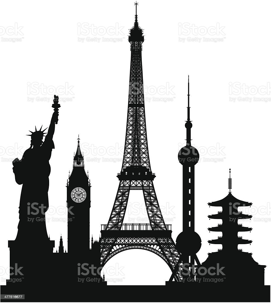 Small World (Each Building is Moveable and Separate) vector art illustration