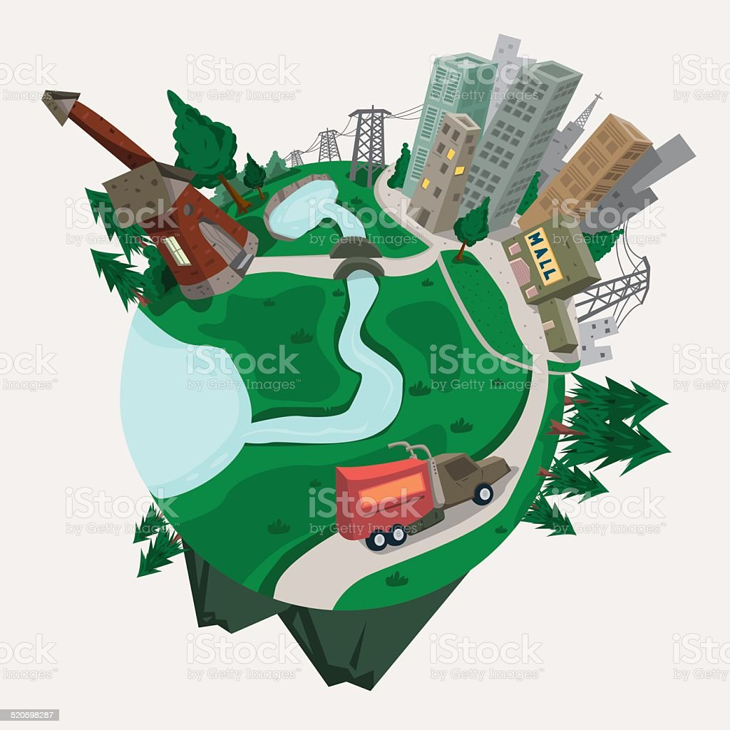 Small World vector art illustration