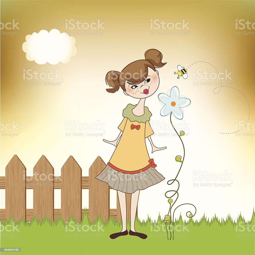 small young lady who smells a flower vector art illustration
