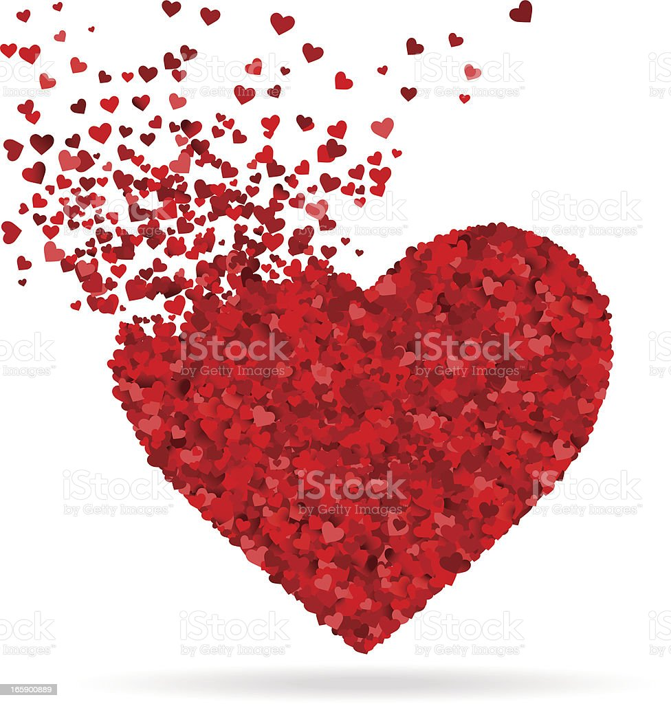 Smaller red and pink hearts make a bigger heart vector art illustration