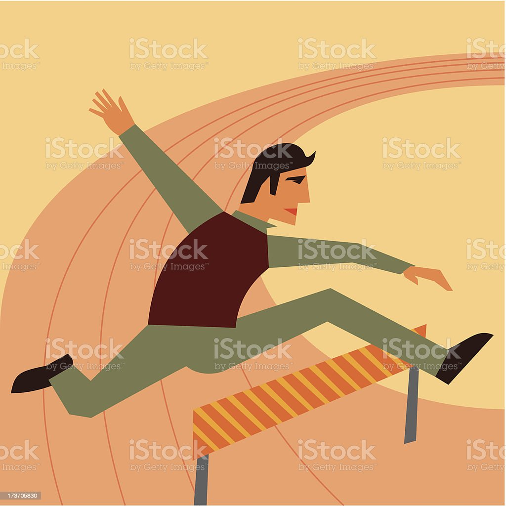 sman jumping over hurdle royalty-free stock vector art