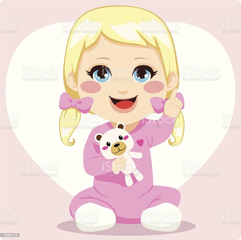 Smart Baby Girl vector art illustration