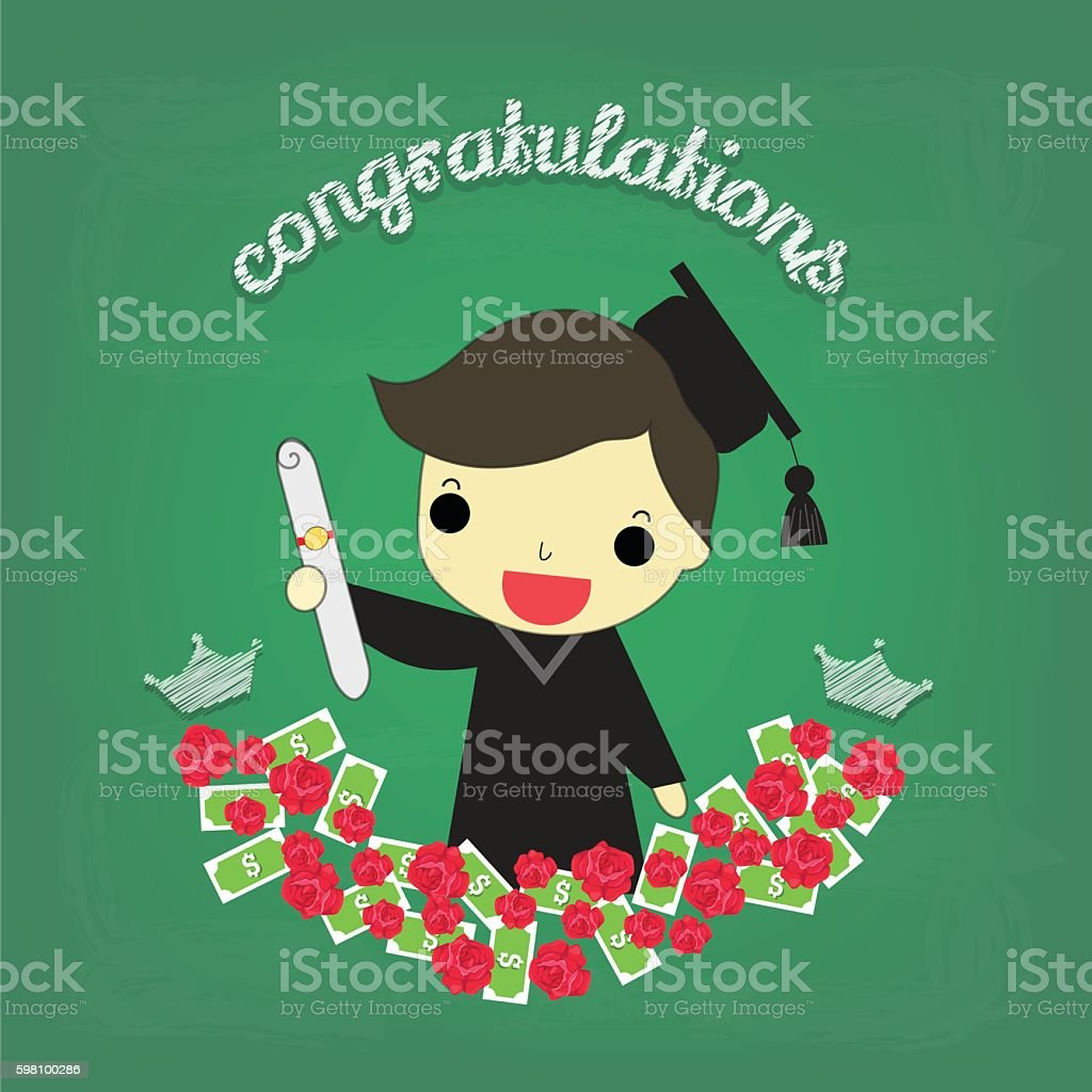 smart boy graduate with flower and money on board vector art illustration