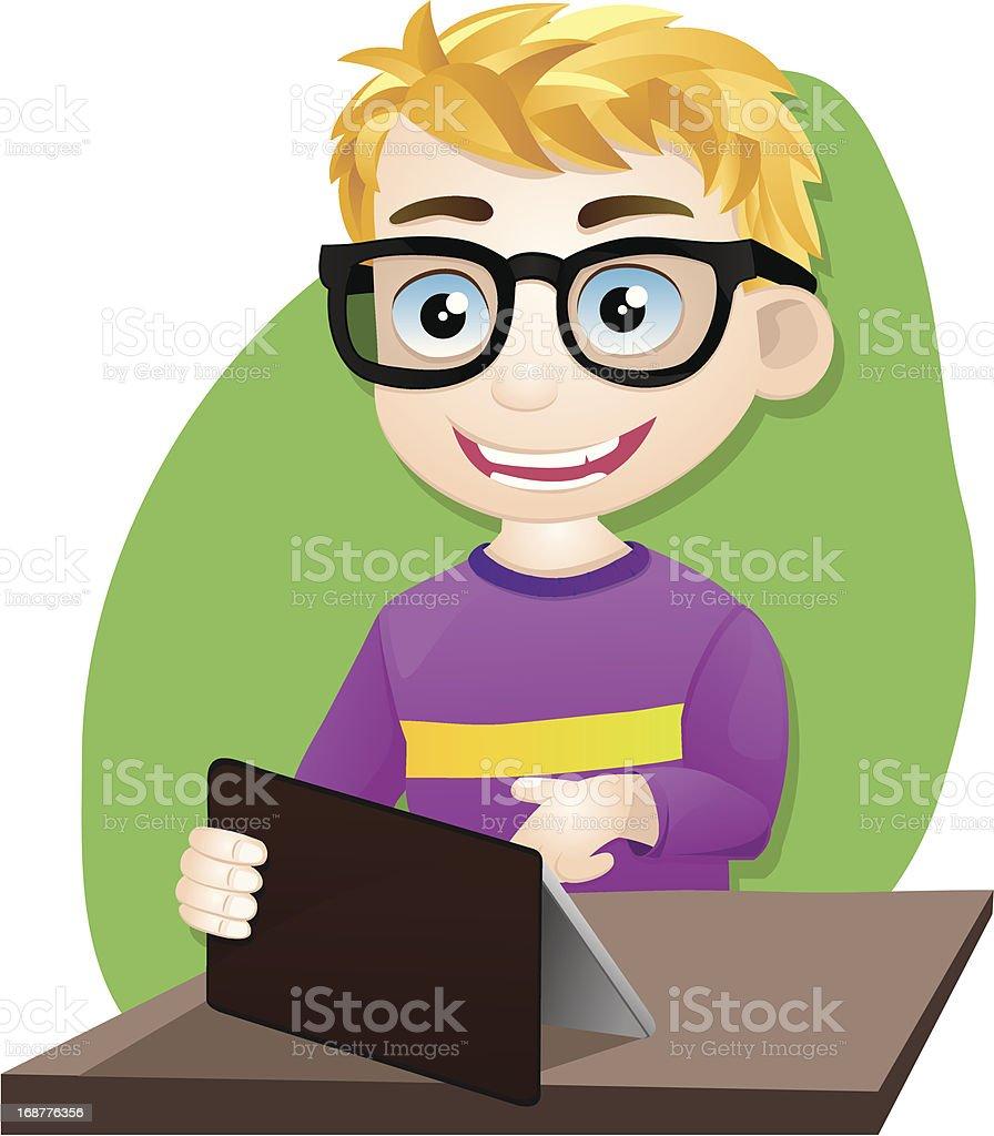 Smart Boy Playing Tablet vector art illustration