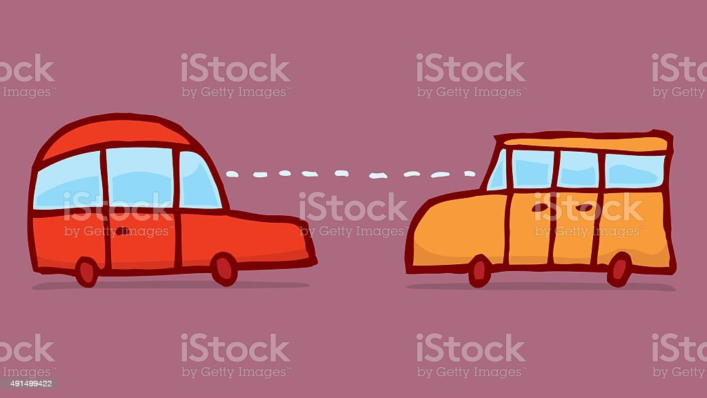 Smart cars connecting and sharing information vector art illustration