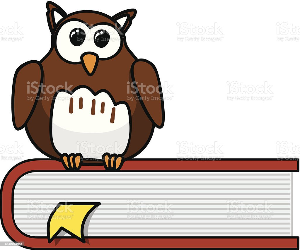 Smart cartoon owl sitting on a book royalty-free stock vector art