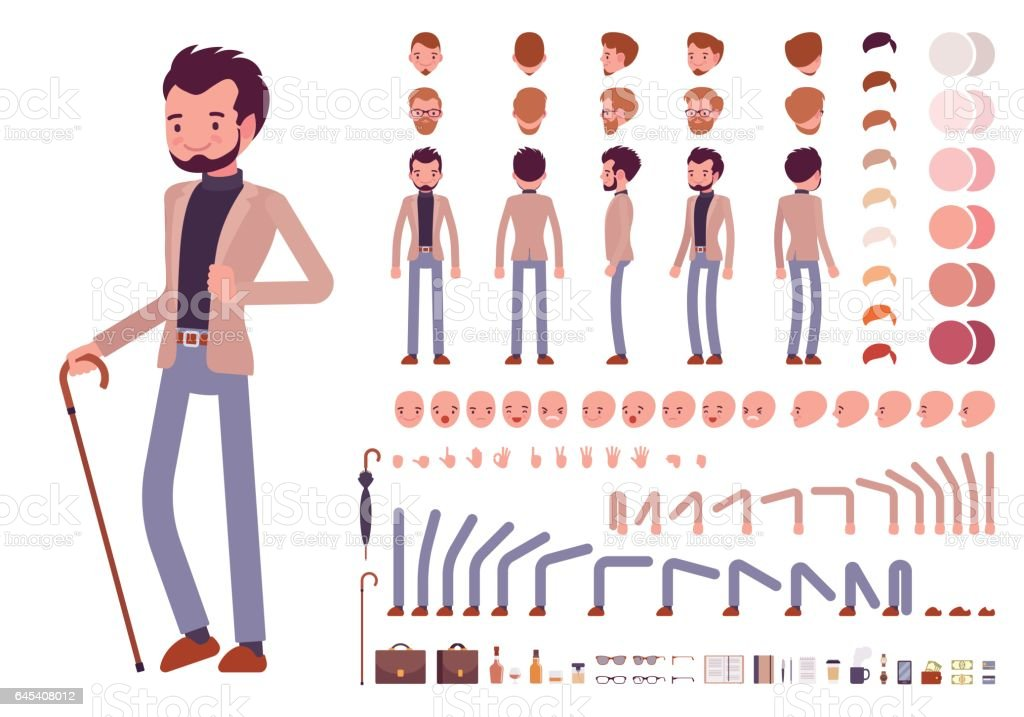 Smart casual male character creation set vector art illustration