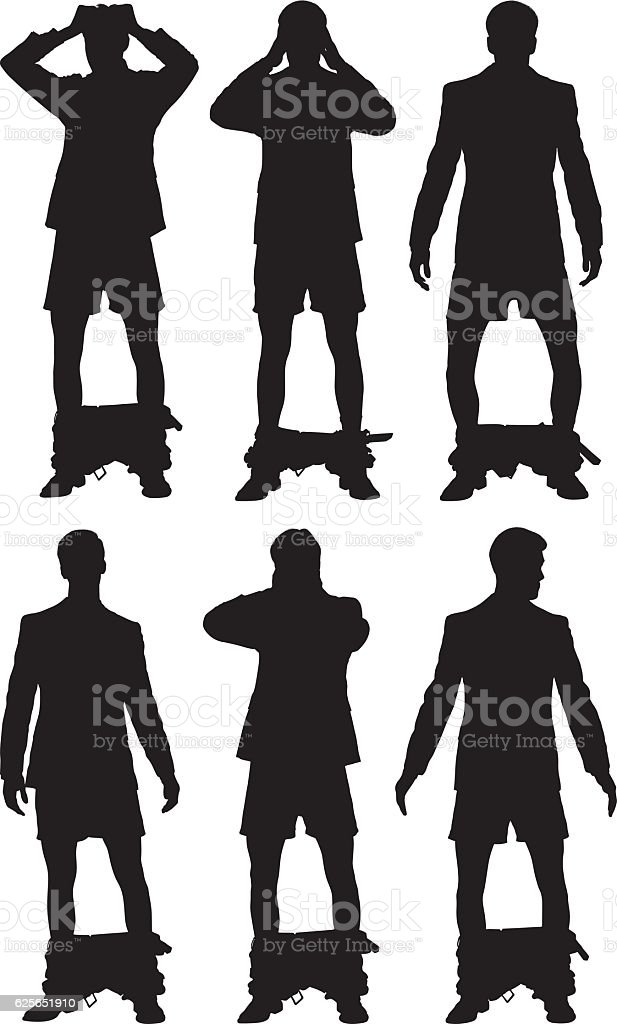 Smart casual man caught with his pants down vector art illustration