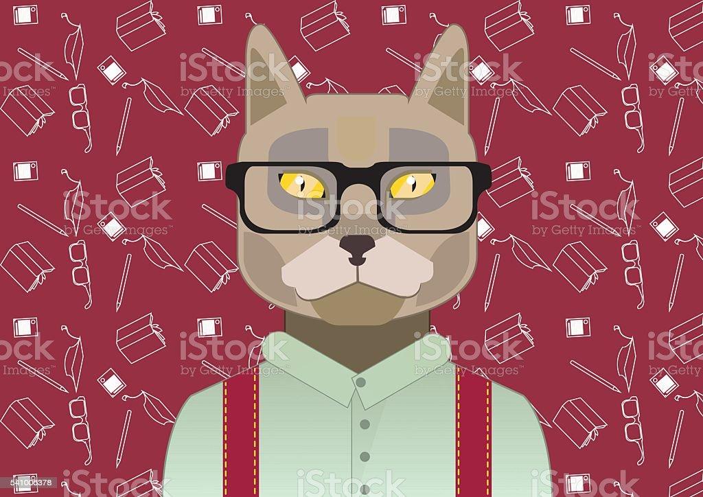 smart cat royalty-free stock vector art